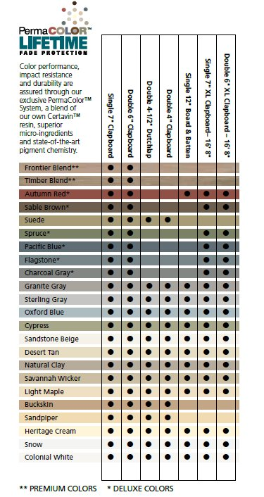 Certainteed Vinyl Color Chart Pictures To Pin On Pinterest